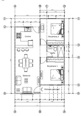 plano vivienda de 73m2